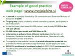 example of good practice web page www mojaizbira si