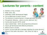 lectures for parents content