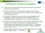 training for school counsellors