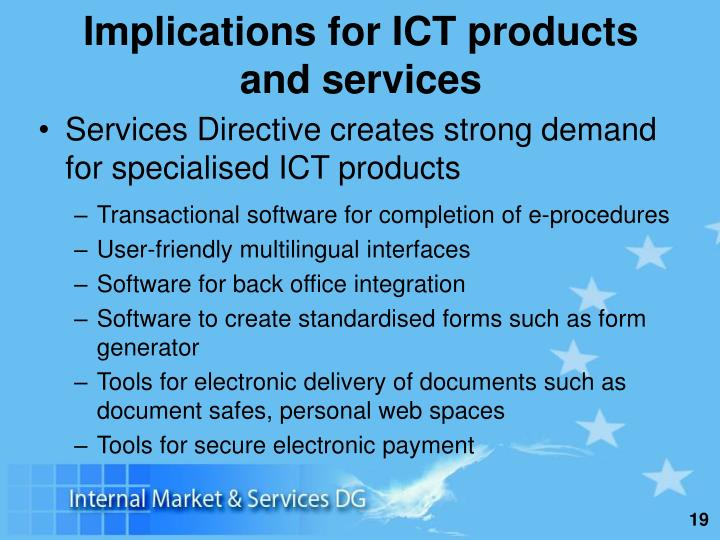 Implications for ICT products and services