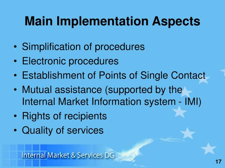 Main Implementation Aspects
