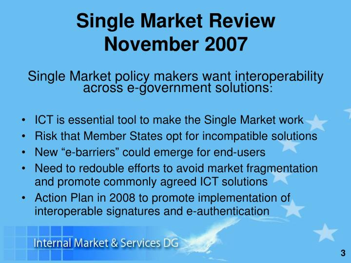 Single market review november 2007