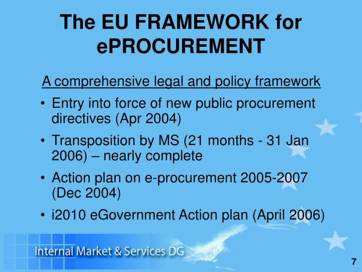 The EU FRAMEWORK for ePROCUREMENT