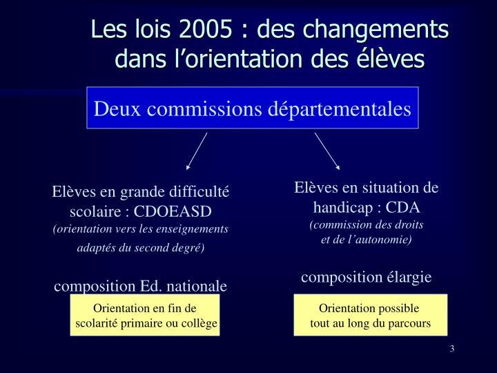 Les lois 2005 des changements dans l orientation des l ves