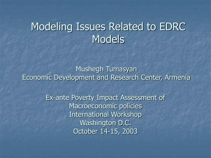modeling issues related to edrc models n.