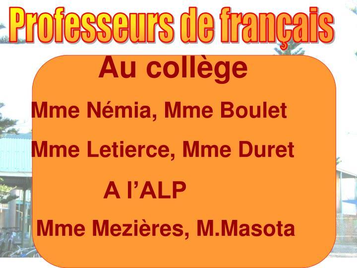 Professeurs de français