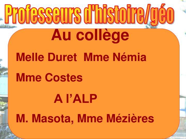 Professeurs d'histoire/géo