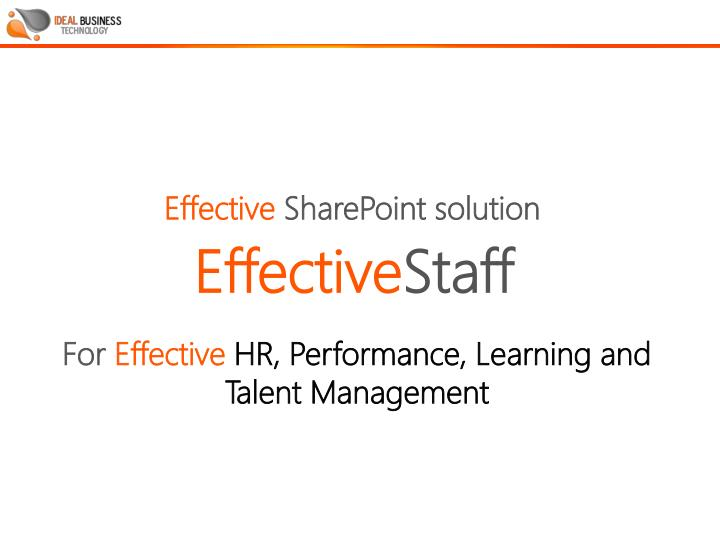 PPT - For Effective HR, Performance, Learning and Talent Management