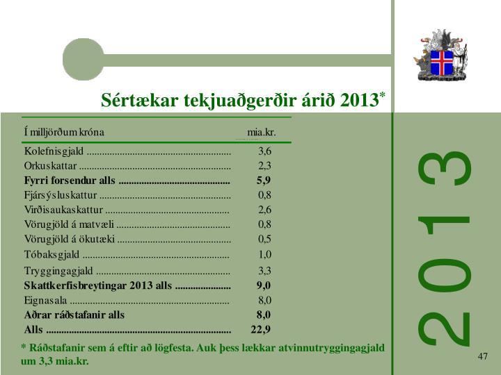 Sértækar tekjuaðgerðir árið 2013