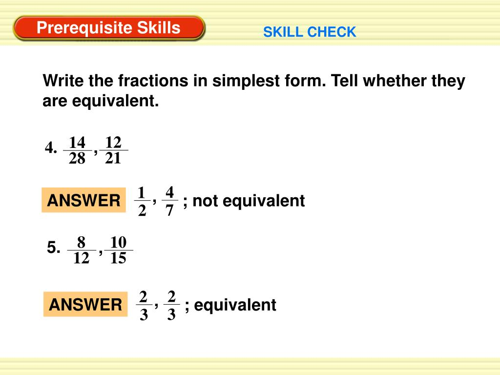 simplest form 12/14  PPT - Prerequisite Skills PowerPoint Presentation, free ...