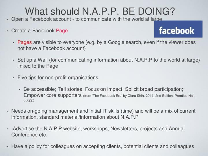 What should N.A.P.P. BE DOING?