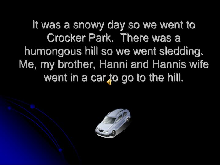It was a snowy day so we went to Crocker Park.  There was a humongous hill so we went sledding.   Me, my brother, Hanni and Hannis wife went in a car to go to the hill.