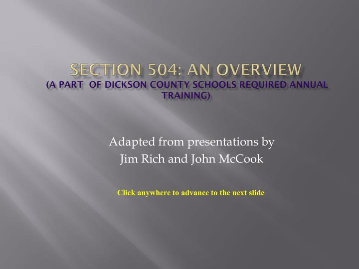 Section 504 an overview a part of dickson county schools required annual training