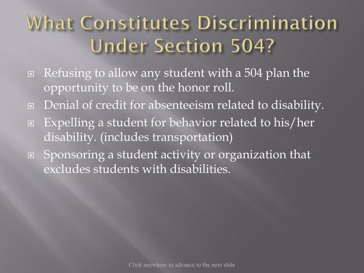 What Constitutes Discrimination Under Section 504?