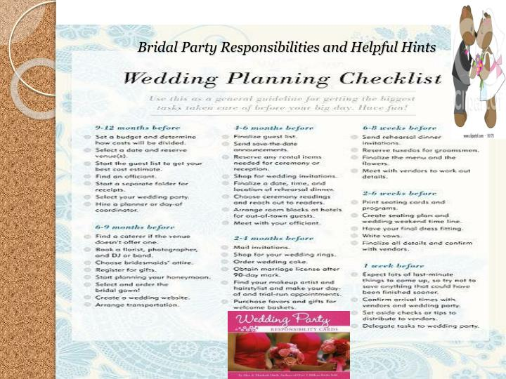 Bridal Party Responsibilities and Helpful Hints