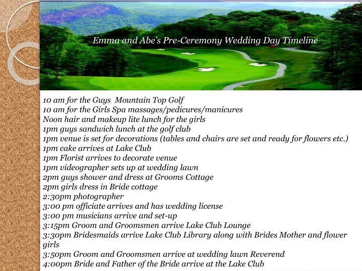 Emma and Abe's Pre-Ceremony Wedding Day Timeline