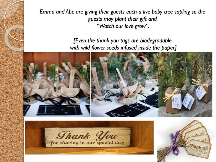 Emma and Abe are giving their guests each a live baby tree sapling so the guests may plant their gift and