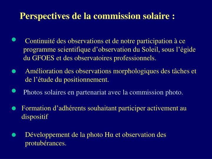 Perspectives de la commission solaire :
