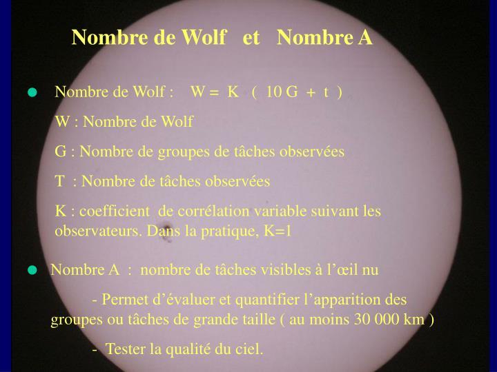 Nombre de Wolf   et   Nombre A
