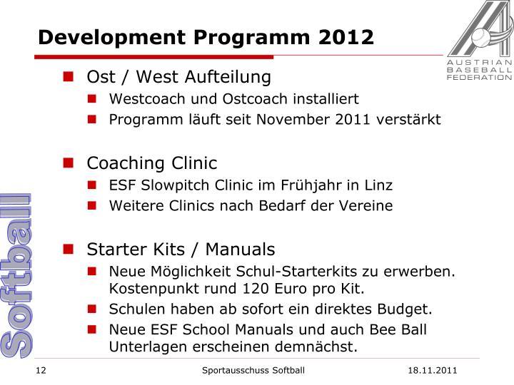 Development Programm 2012