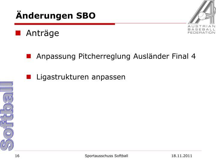 Änderungen SBO