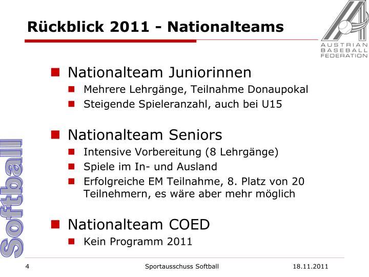 Rückblick 2011 - Nationalteams