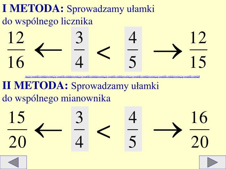 I METODA: