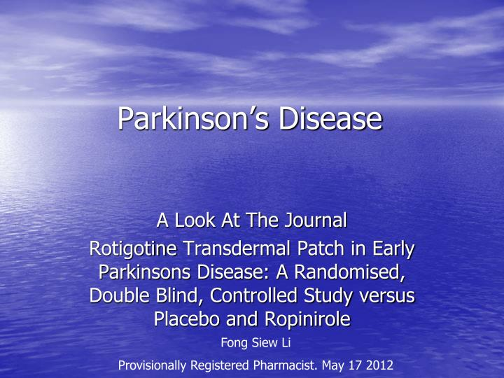 the use of zebrafish to study and provide a treatment for parkinsons disease