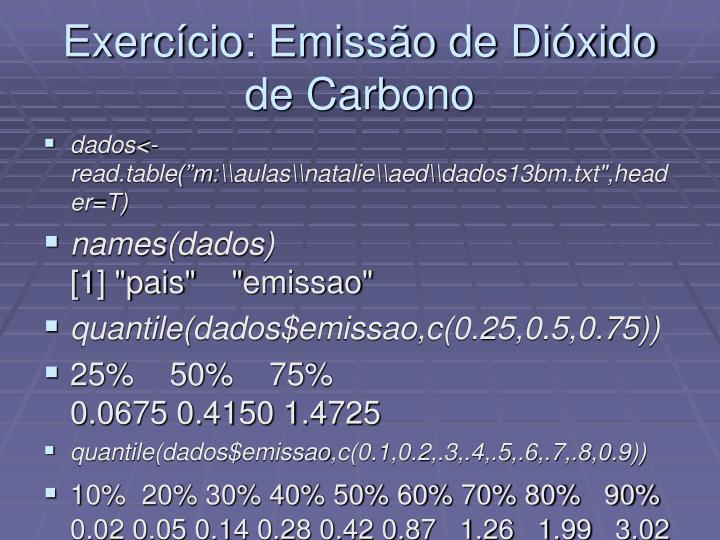 Exerc cio emiss o de di xido de carbono1