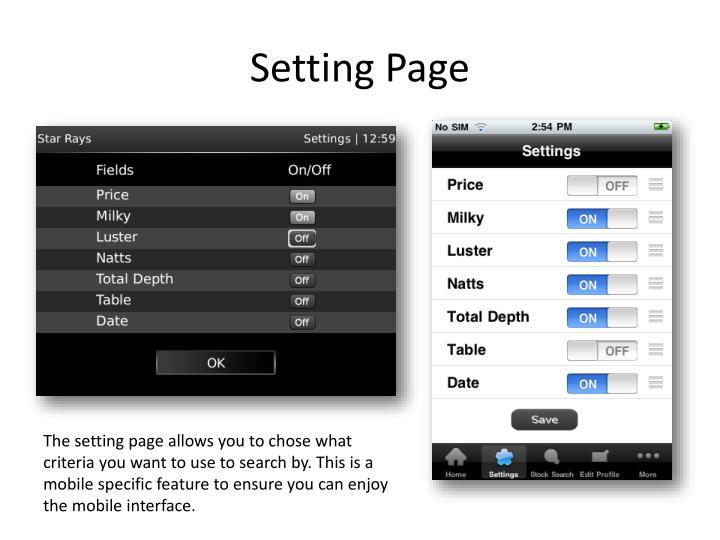 Setting Page