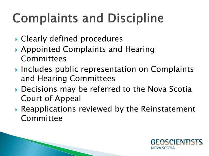 Complaints and Discipline