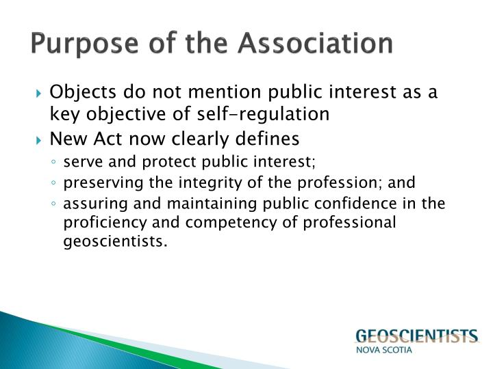 Purpose of the association