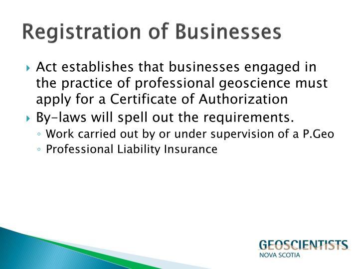 Registration of Businesses