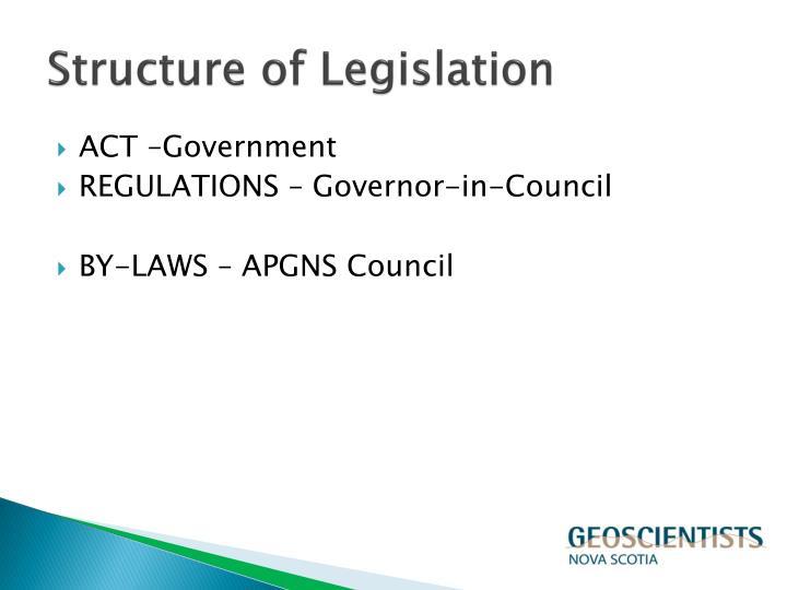 Structure of legislation
