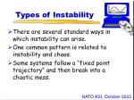 types of instability