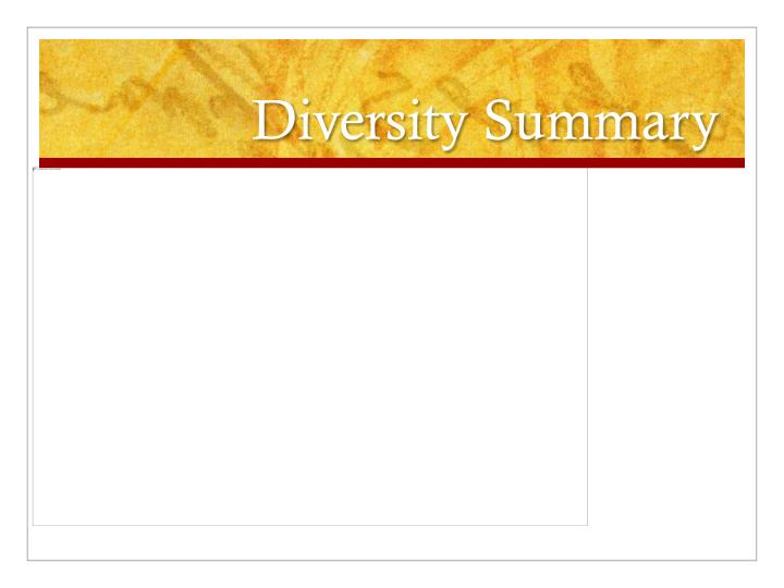 Diversity Summary