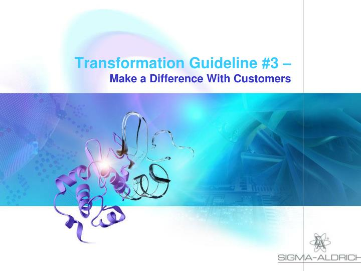 Transformation Guideline #3 –
