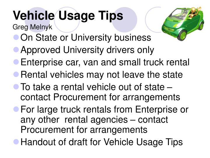 Vehicle Usage Tips