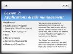 lesson 2 applications file management