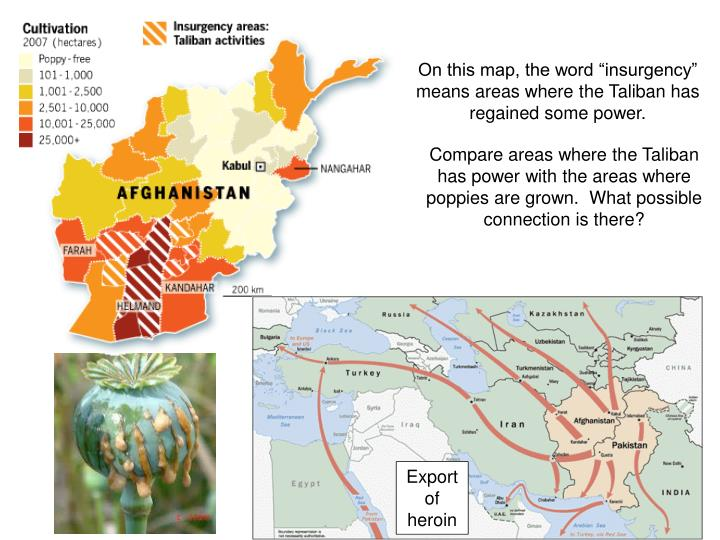 """On this map, the word """"insurgency"""" means areas where the Taliban has regained some power."""