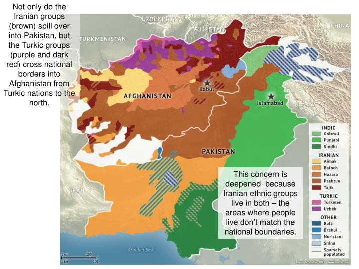 Not only do the Iranian groups (brown) spill over into Pakistan, but the Turkic groups (purple and dark red) cross national borders into Afghanistan from Turkic nations to the north.