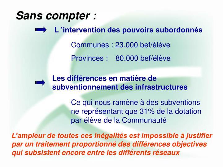 Les différences en matière de subventionnement des infrastructures