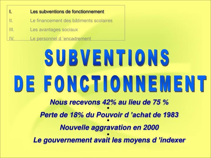 I.Les subventions de fonctionnement