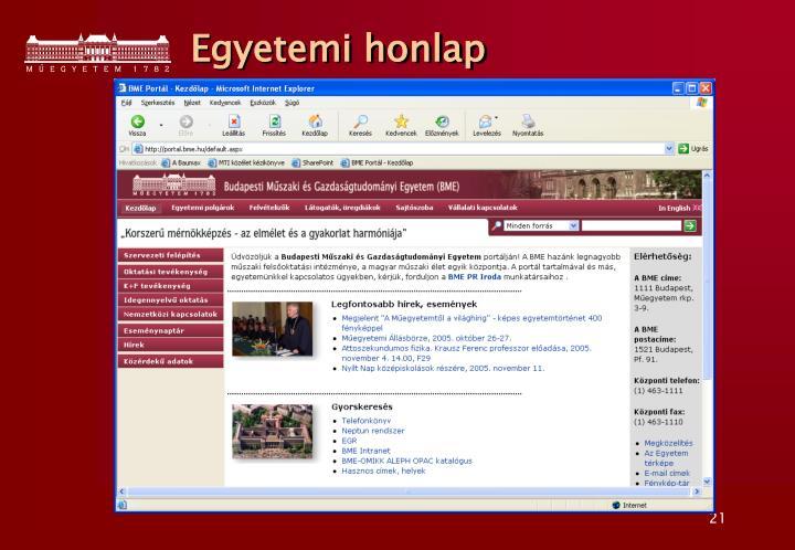 Egyetemi honlap