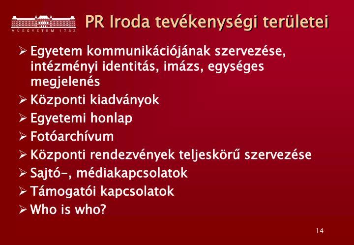PR Iroda tevékenységi területei
