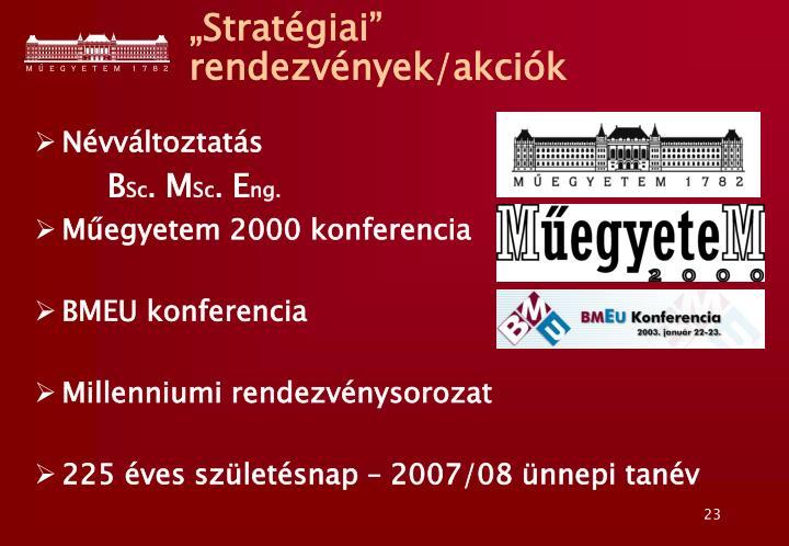 """""""Stratégiai"""" rendezvények/akciók"""