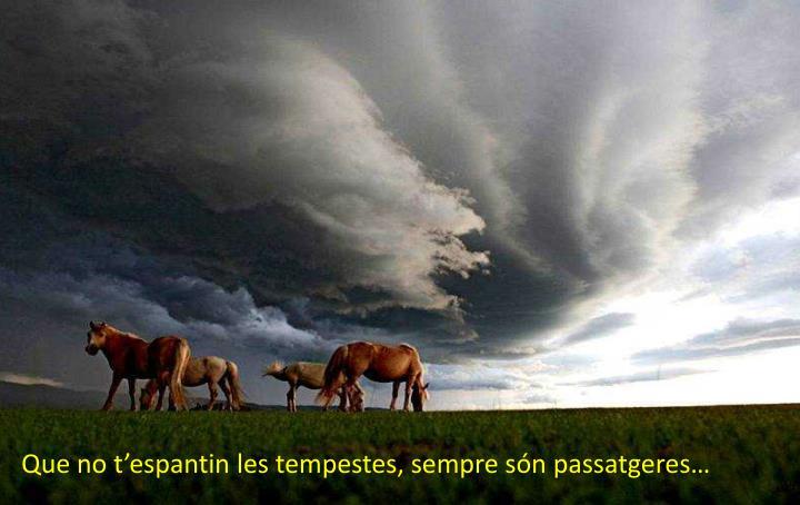 Que no t'espantin les tempestes, sempre són passatgeres…