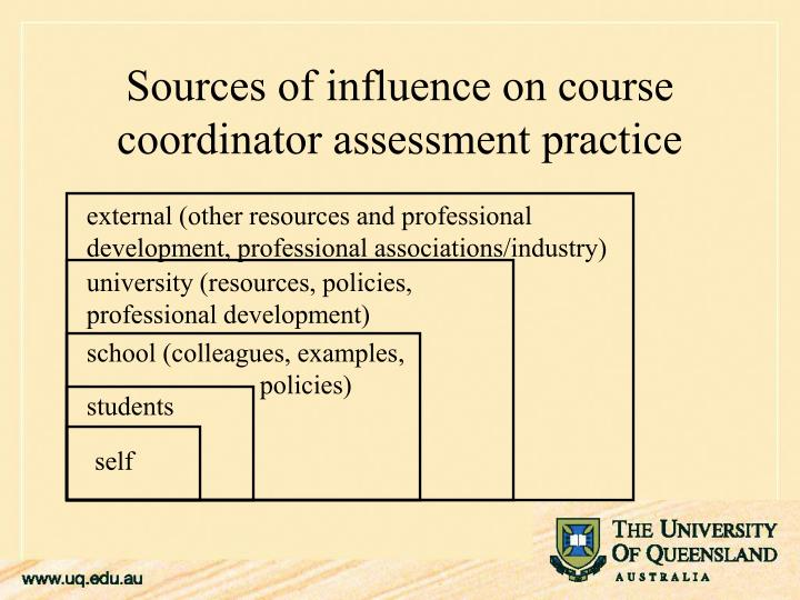 Sources of influence on course coordinator assessment practice