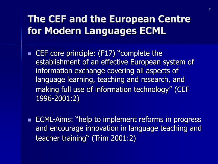 The CEF and the European Centre for Modern Languages ECML