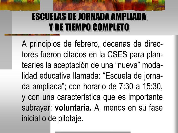 ESCUELAS DE JORNADA AMPLIADA
